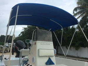 A new Bimini top throws shade over the bay boat
